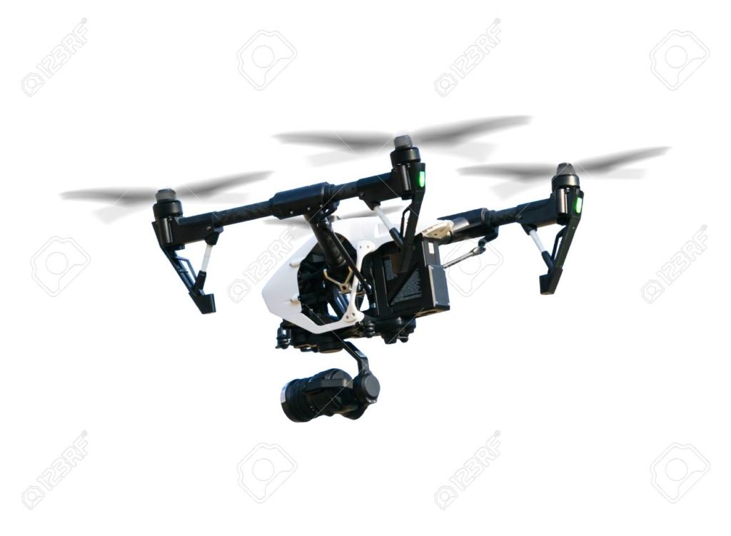 Drone with camera, isolated on white background